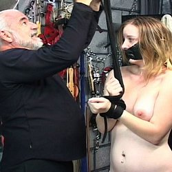 Naked and punished. Master Len ties his naughty slave up with ropes and violates her naked flesh.