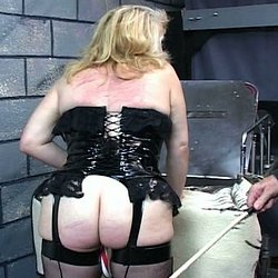Blondie and the cane. Blondie gets her butt and pussy caned in this horny BDSM film.