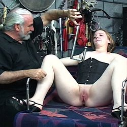 Punished the slaves. Master Len drags two of his naughtiest slaves into the dungeon and gives them a good punishment session.