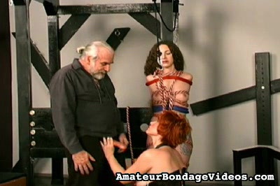 Threesome bdsm. Master Len forces his naughty slaves to forced orgasms by way of dildos and cunnilingus.
