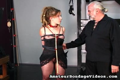 Delicate tears. Kinky midget is reduced to tears after her bondage lesson from Master Len