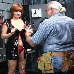 Dildos and electric stimualtion0. Master Len uses a combination of dildos and electric stimulation to force his slave to orgasm.
