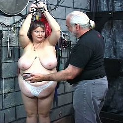 Fatty gets the whip0. Master Len gives his fat slave a stern a whipping in this hot BDSM film.