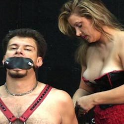 Punished a male slave. Two nice ladies punished their naughty male slave in this libidinous BDSM film.