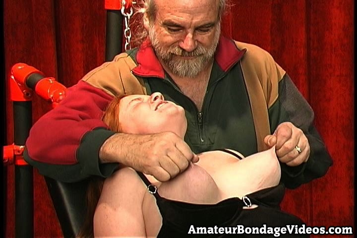 Hard punishments in the basement. Lusty red haired Melinda is one of them. She has lovely bouncing boobies and heavy nipples which are made for twisting and squeezing and that is what she is going to get